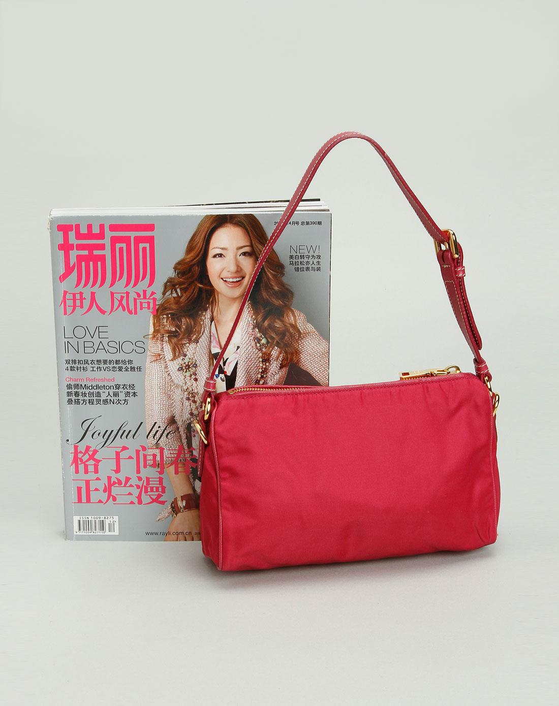 prada女款红色小手提包