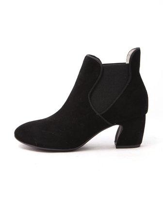 元喜won777hee女鞋专场黑色质感典雅通勤中跟短靴