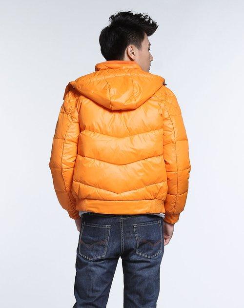 森马男装专场橙色连帽短款长袖羽绒服图片