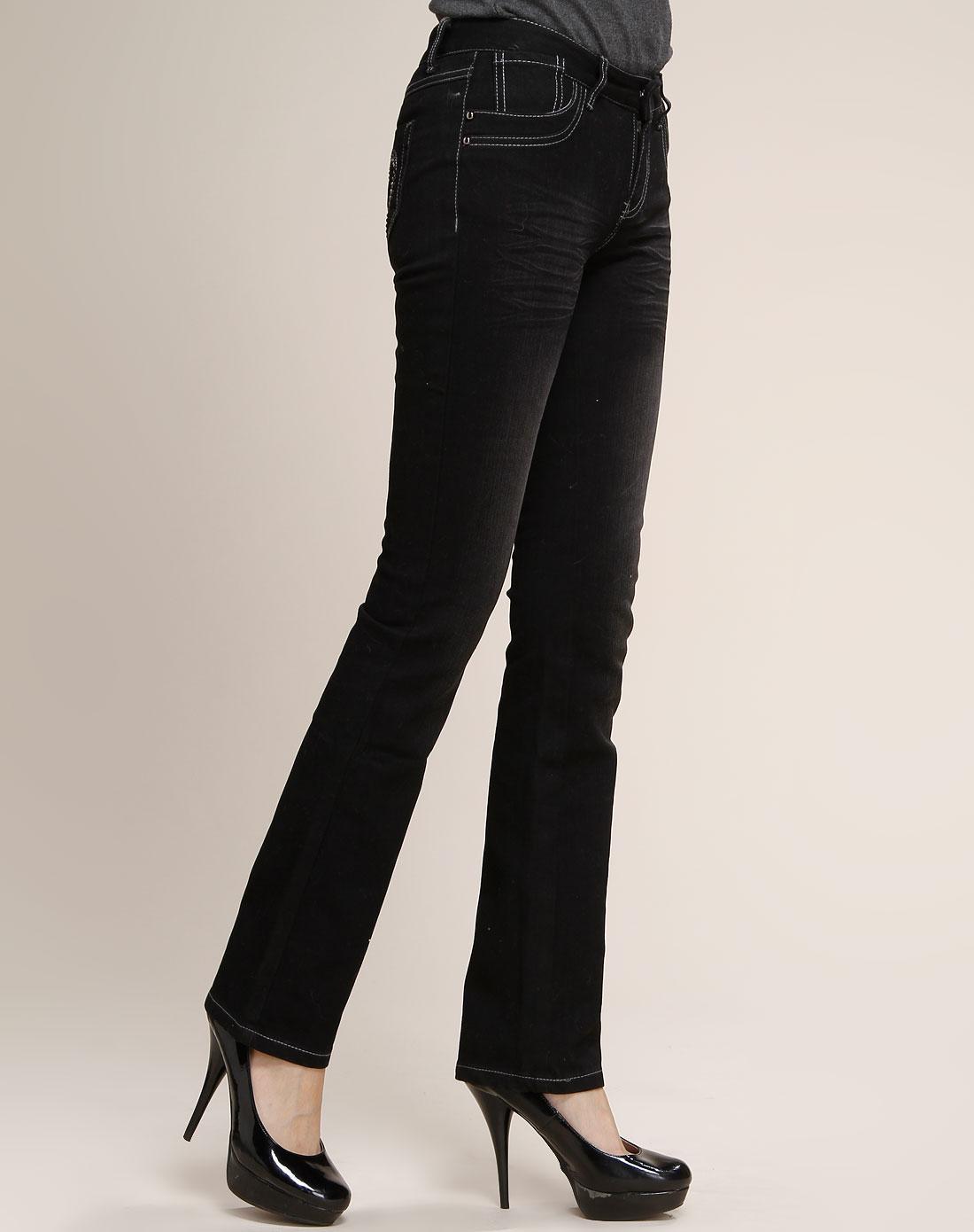 卡莎布兰卡女款黑色直筒牛仔长裤