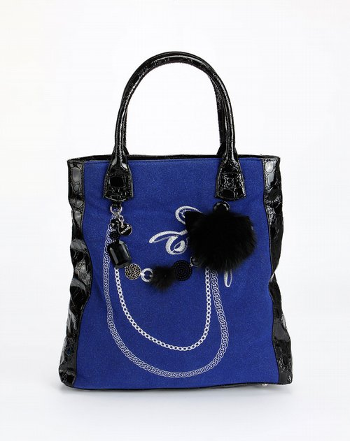 [薇茉]深蓝色绒面绣花手提包