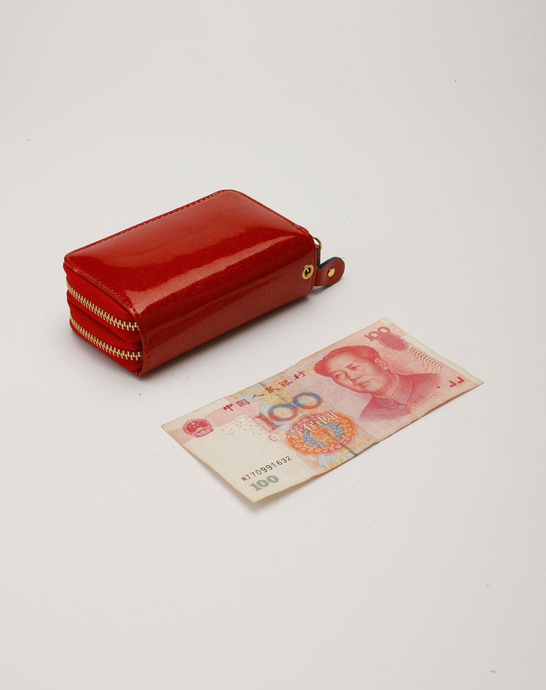 诗薇儿svale红色闪烁双拉链钥匙零钱包