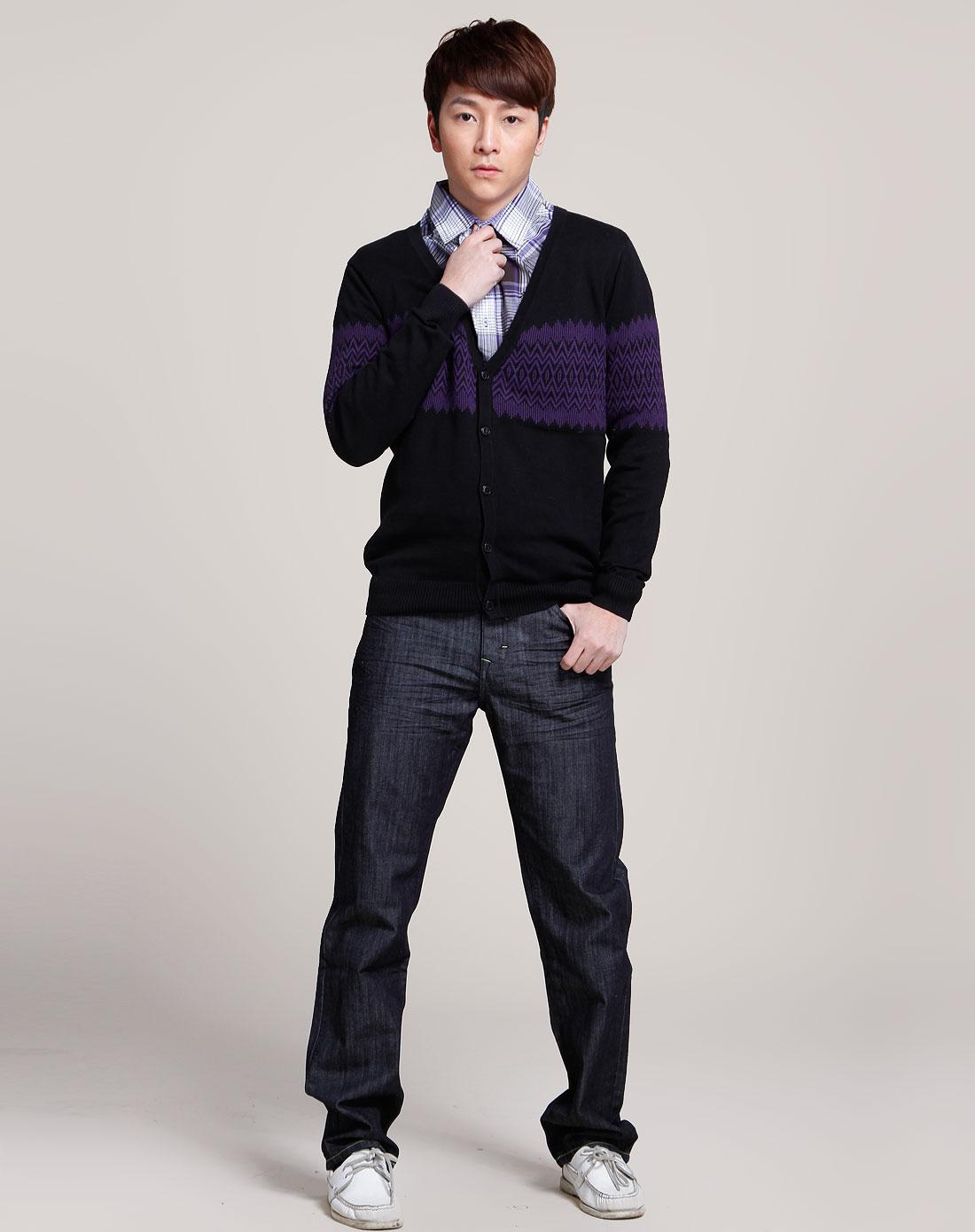 黑/紫色时尚织花开襟长袖针织衫图片