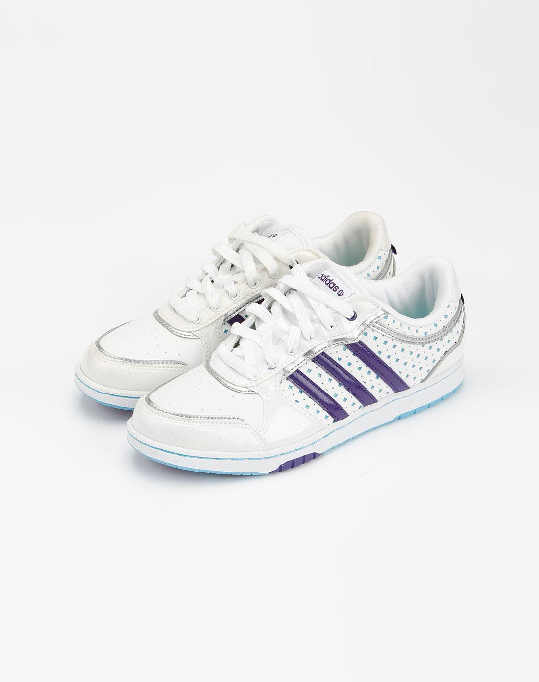 阿迪达斯adidas-neo 女款白/紫色运动鞋