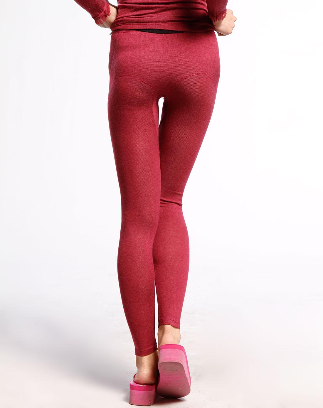 黛安芬酒红色保暖长裤