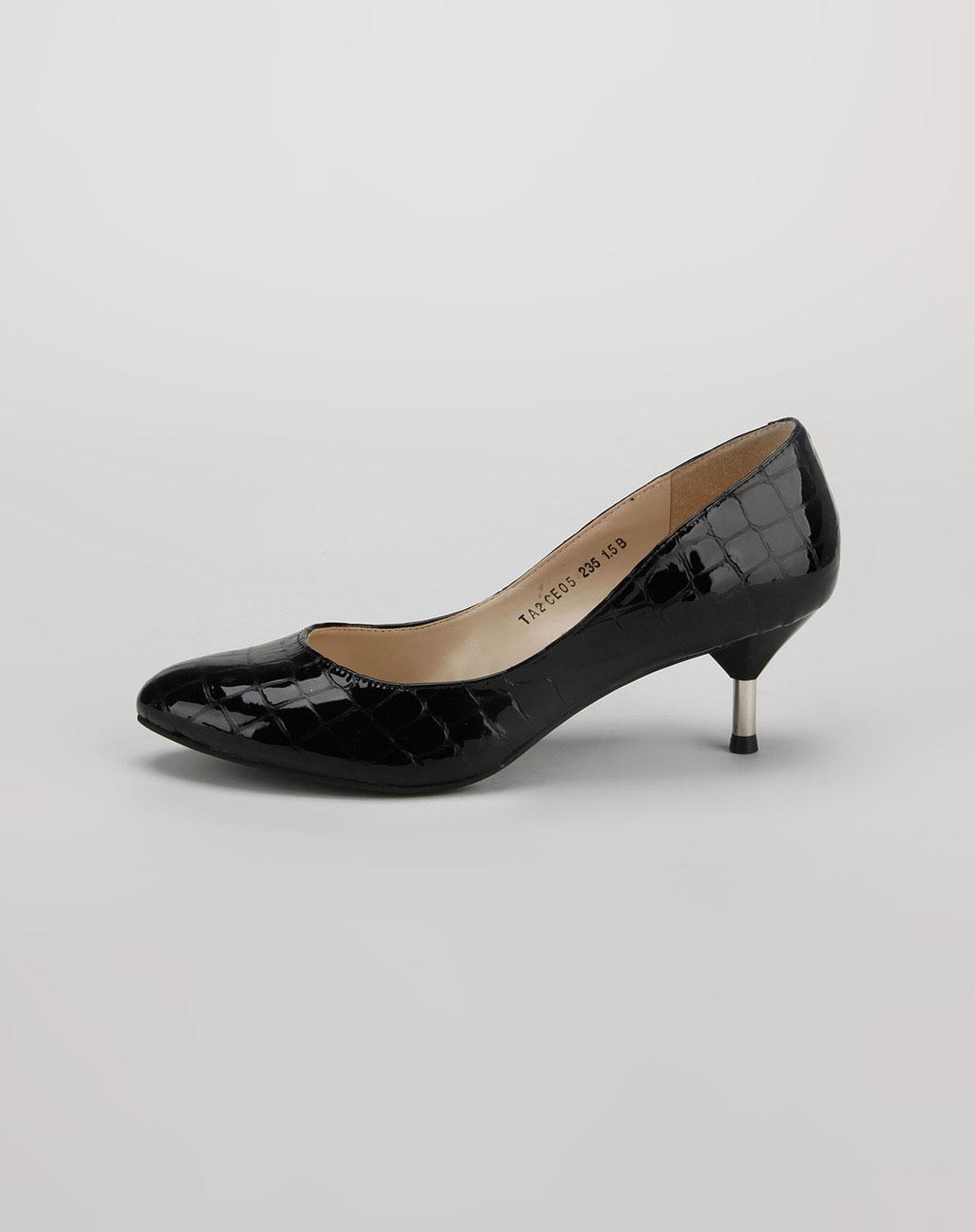 他她tata黑色蛇皮高跟鞋_唯品会名牌时尚折扣网