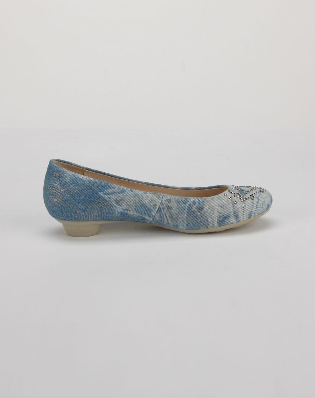 他她tata淡蓝色烫钻牛仔布鞋