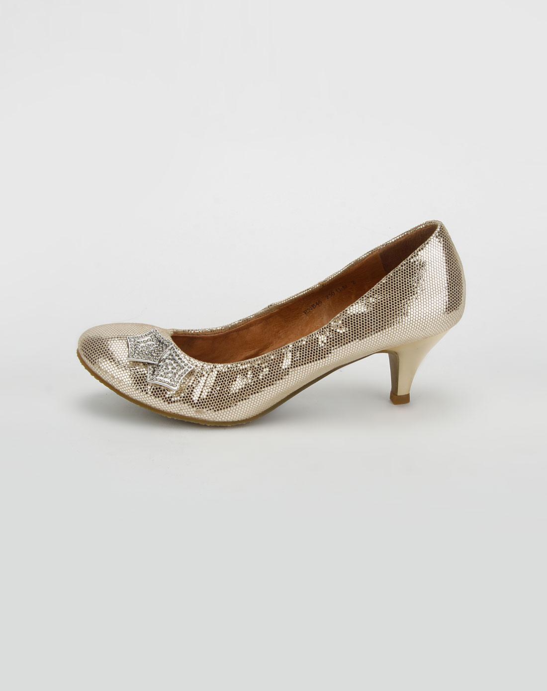 思加图 浅金色贴膜镶钻星高跟鞋