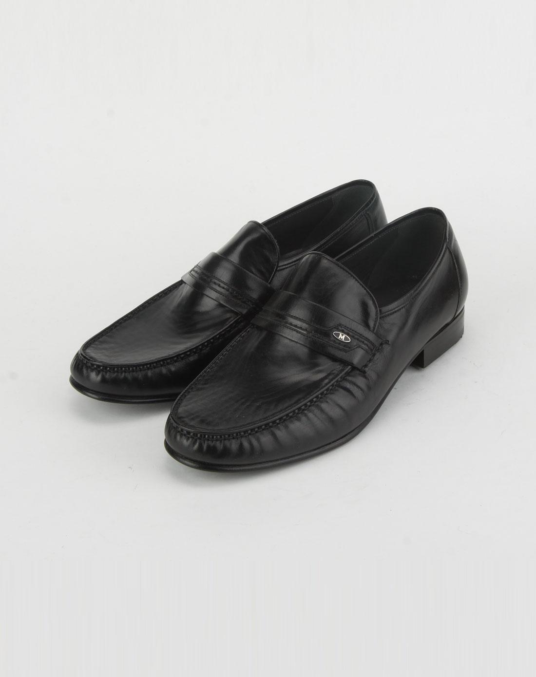 名仕mister男款黑色软皮皮鞋