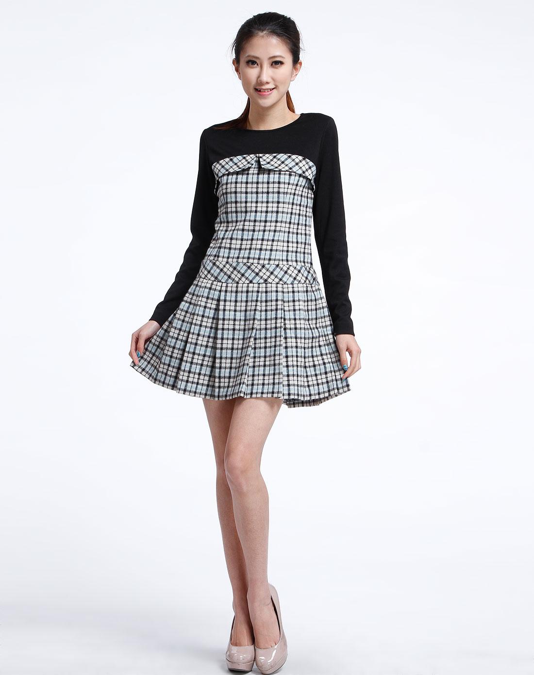 浅蓝/黑色时尚格纹长袖连衣裙