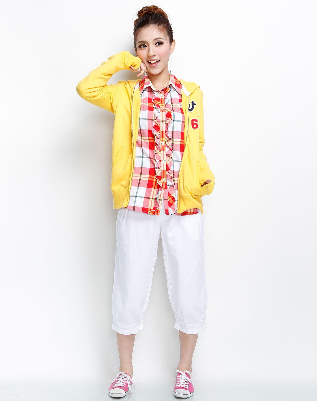 女装鹅黄针织长袖外套