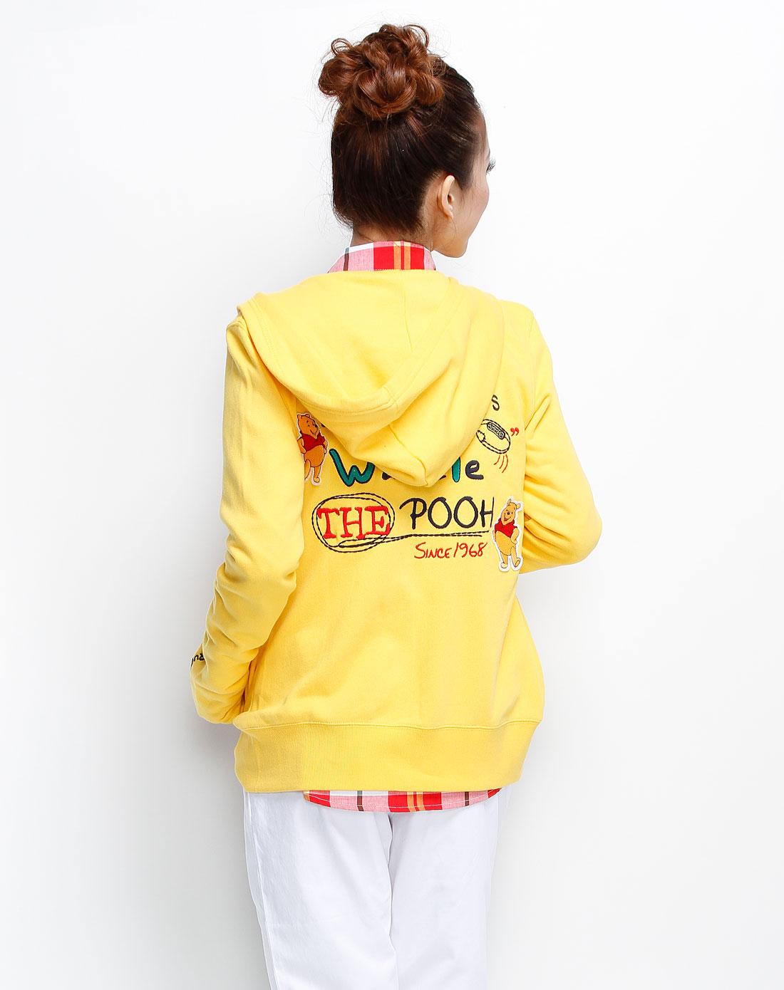 小熊维尼女装鹅黄针织长袖外套