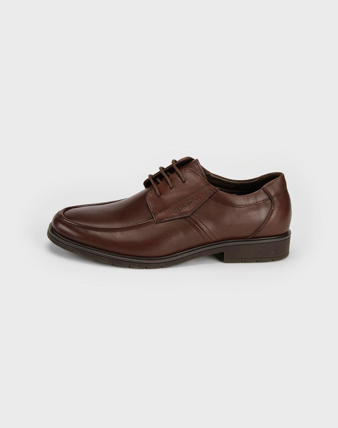 森达senda男款棕色小牛皮鞋