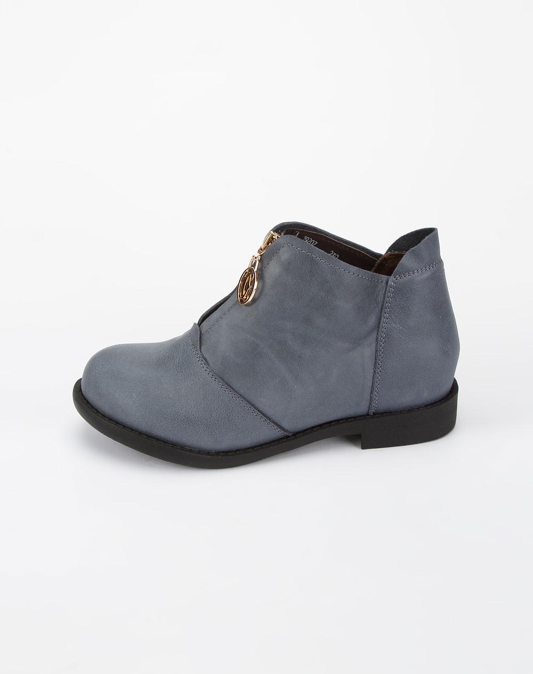 哈森旗下品牌女鞋混合专场-卡文女款蓝色前拉链压纹皮鞋图片
