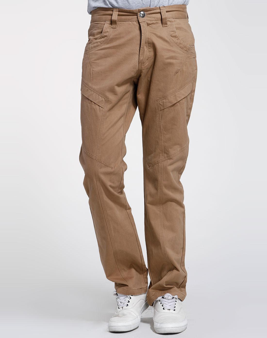 男款卡其色休闲长裤