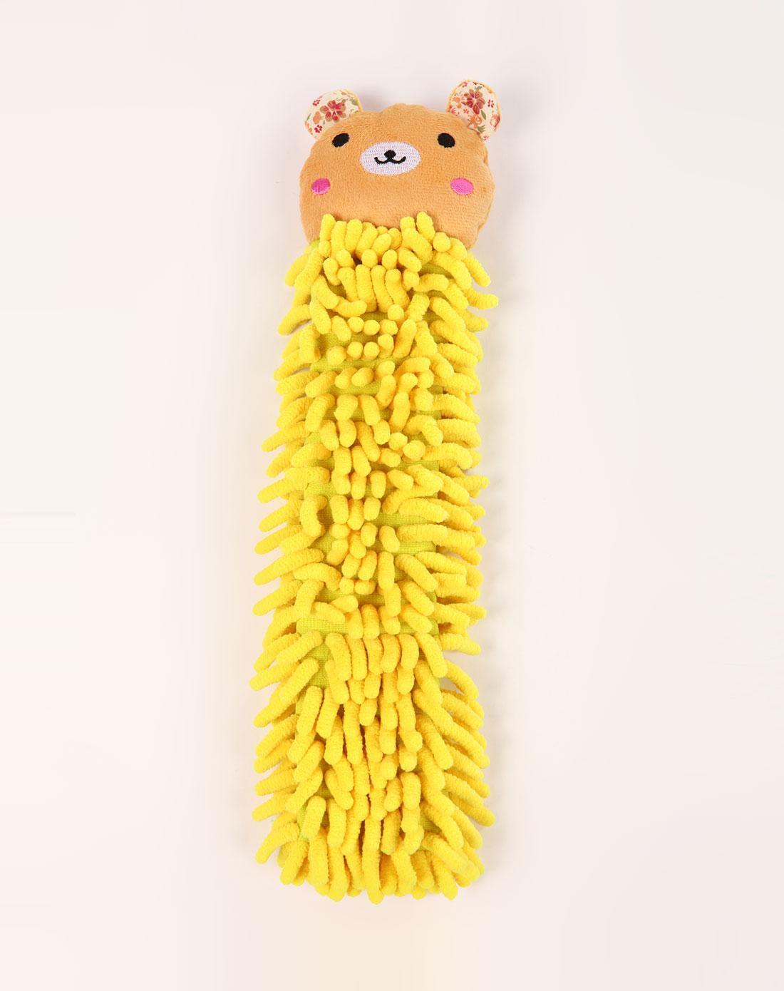 h&3动物造型超细纤维擦手巾黄色狗熊