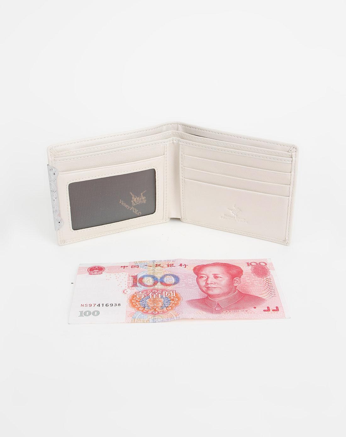 维多利保罗女款米白色印花时尚钱包