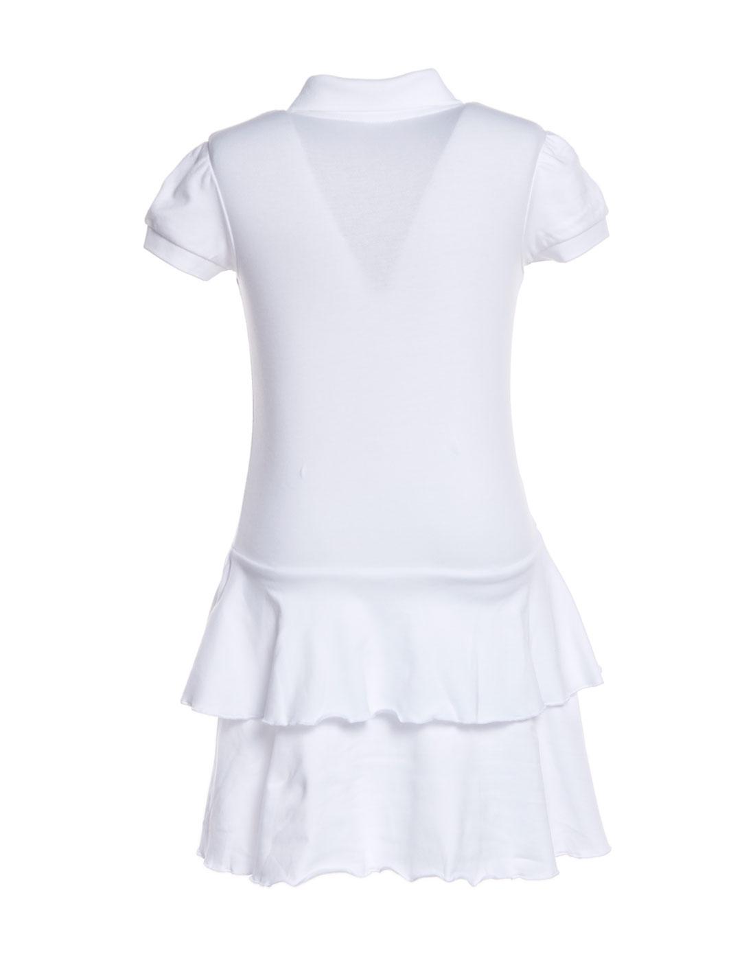 r100童装女童白色短袖连身裙
