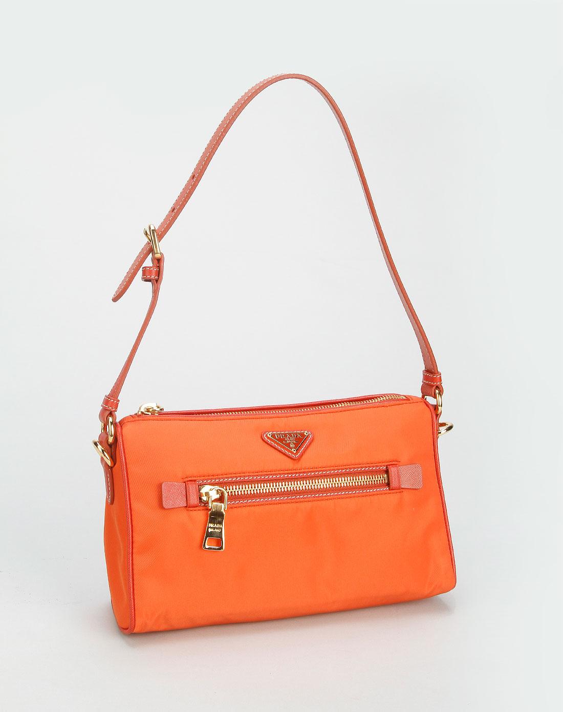 prada女款橙色简约休闲手提包