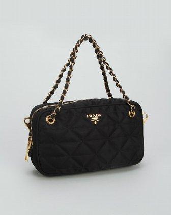 prada包包专场女款黑色时尚格纹两用包