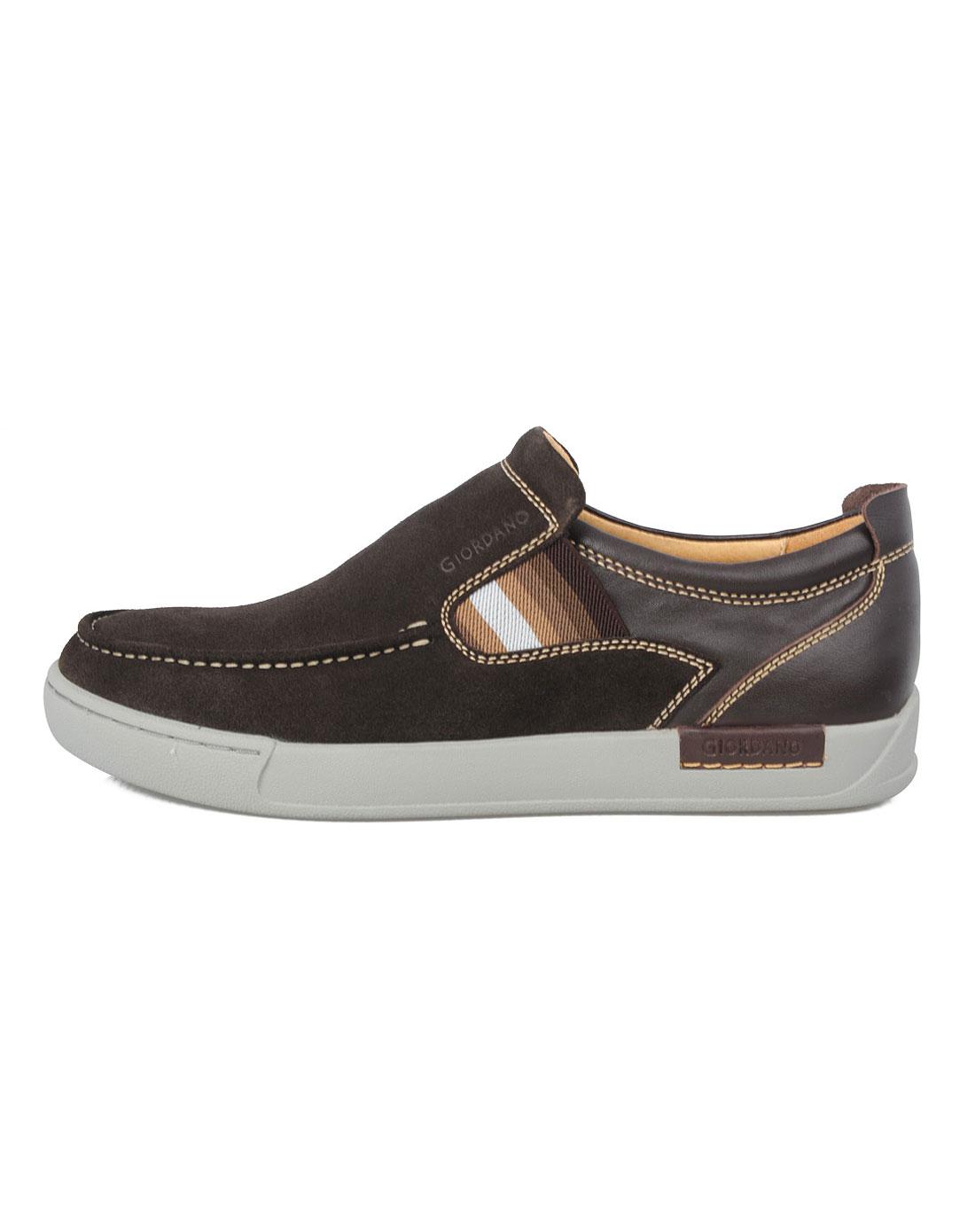 佐丹奴giordano男款咖啡色休闲皮鞋