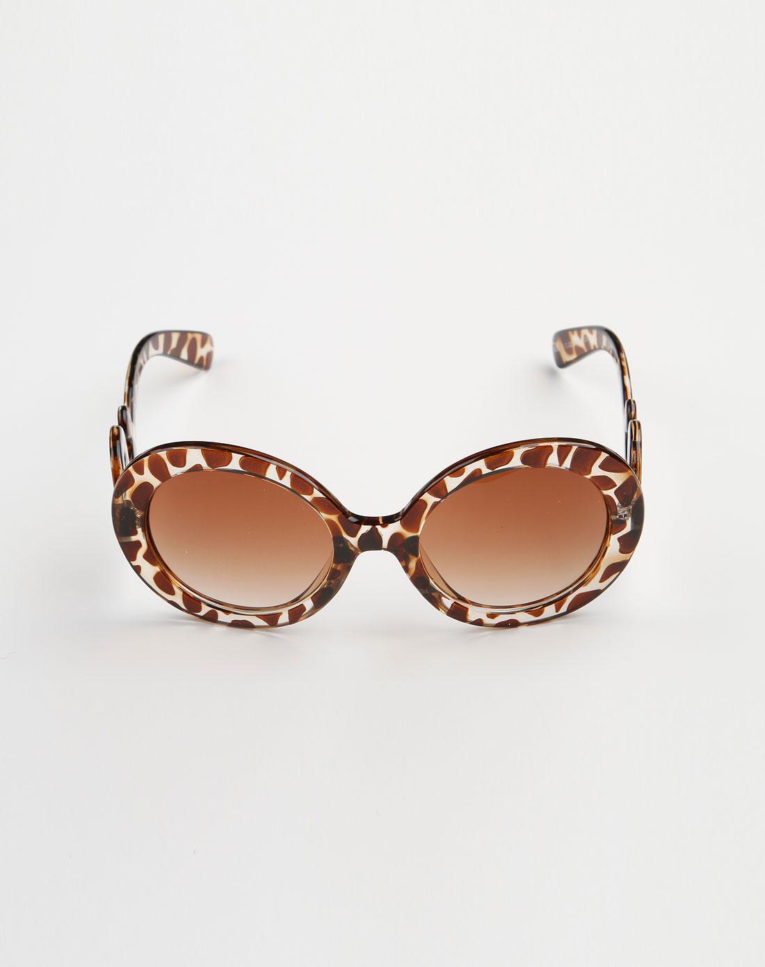 b&balos 深茶/啡色豹纹圆形可爱眼镜
