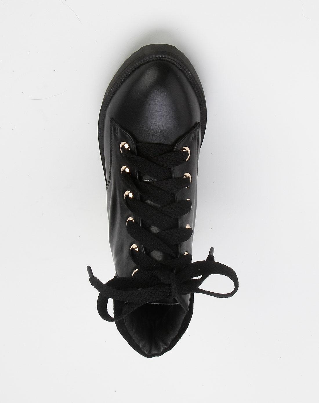 bie女款黑色尖头系带皮鞋