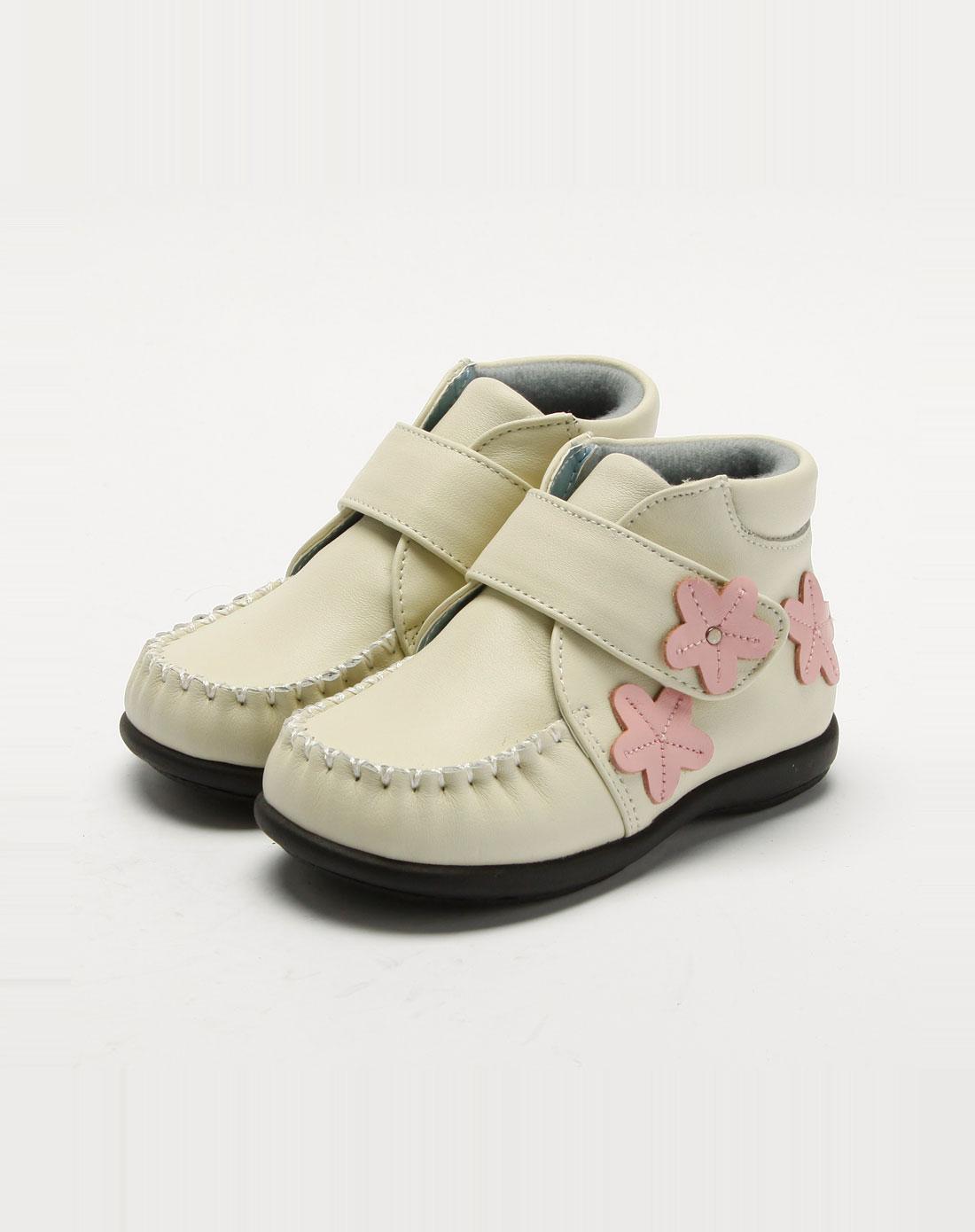 女童米白色皮鞋