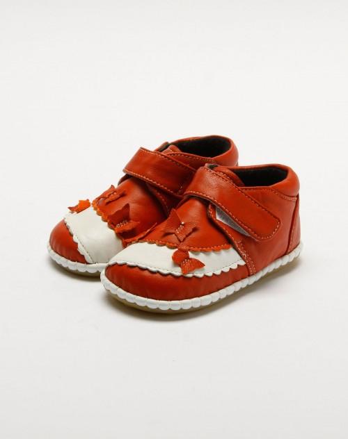 女童桔/白色休闲皮鞋