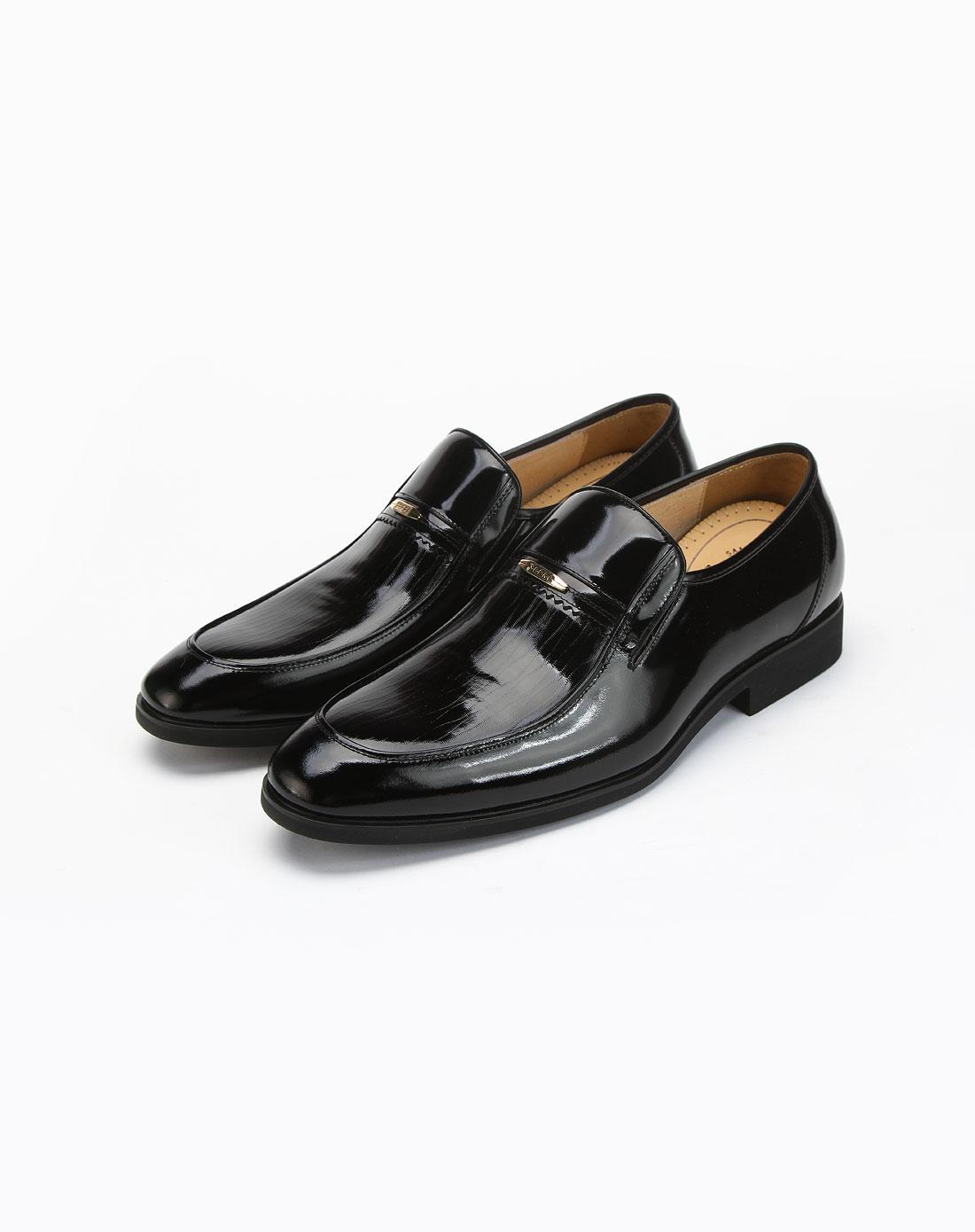 圣大保罗-男鞋黑色时尚商务休闲皮鞋