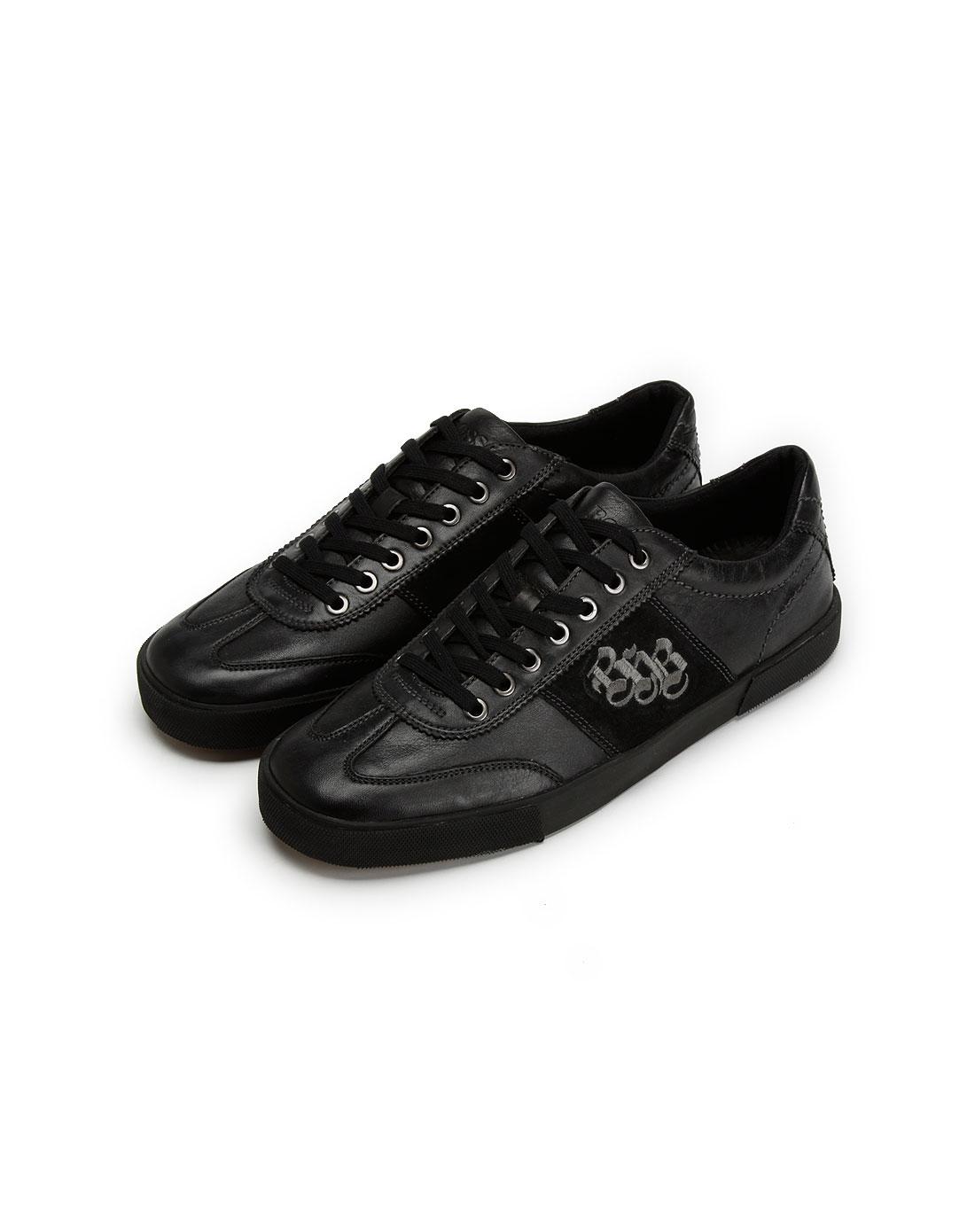 boss男款黑色休闲皮鞋17631100