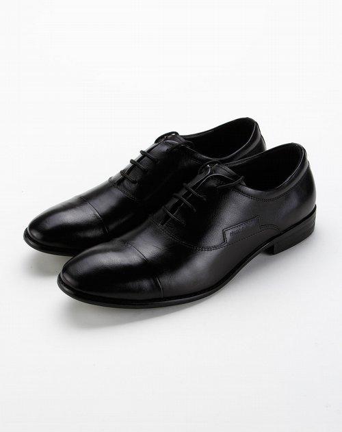 黑色时尚英伦风简约系带商务皮鞋