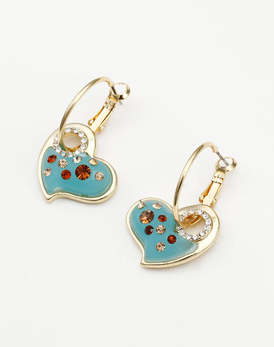 威妮华viennois蓝色可爱心形耳环