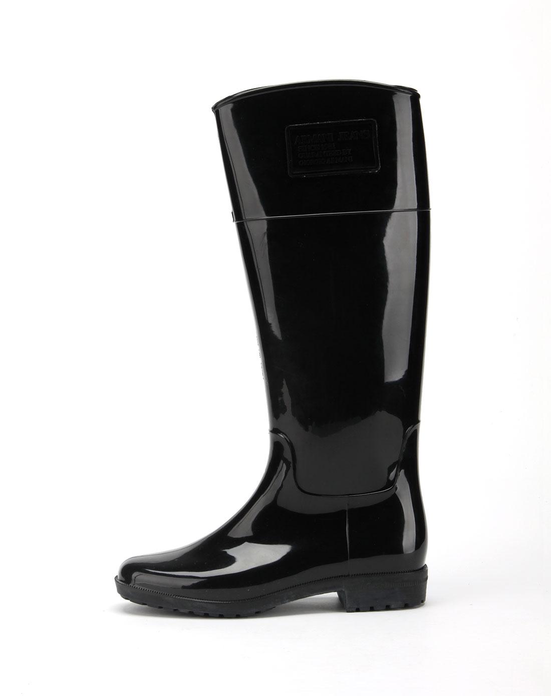 armani鞋子专场女款黑色滑面雨靴n558412