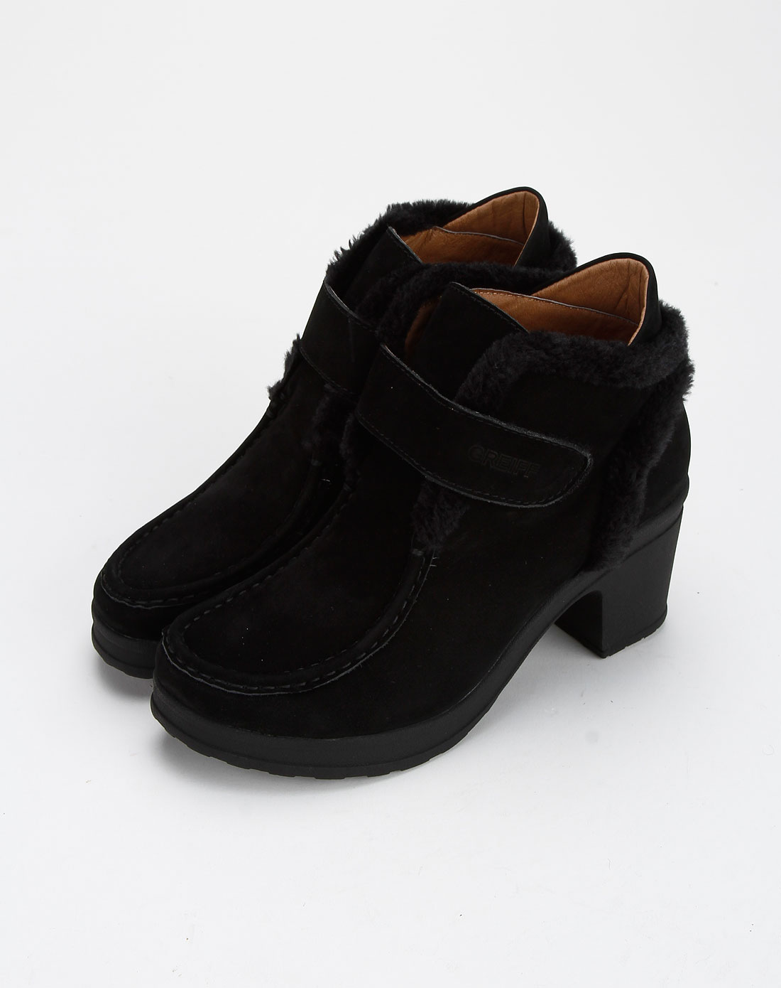 哥雷夫女款黑色休闲皮鞋