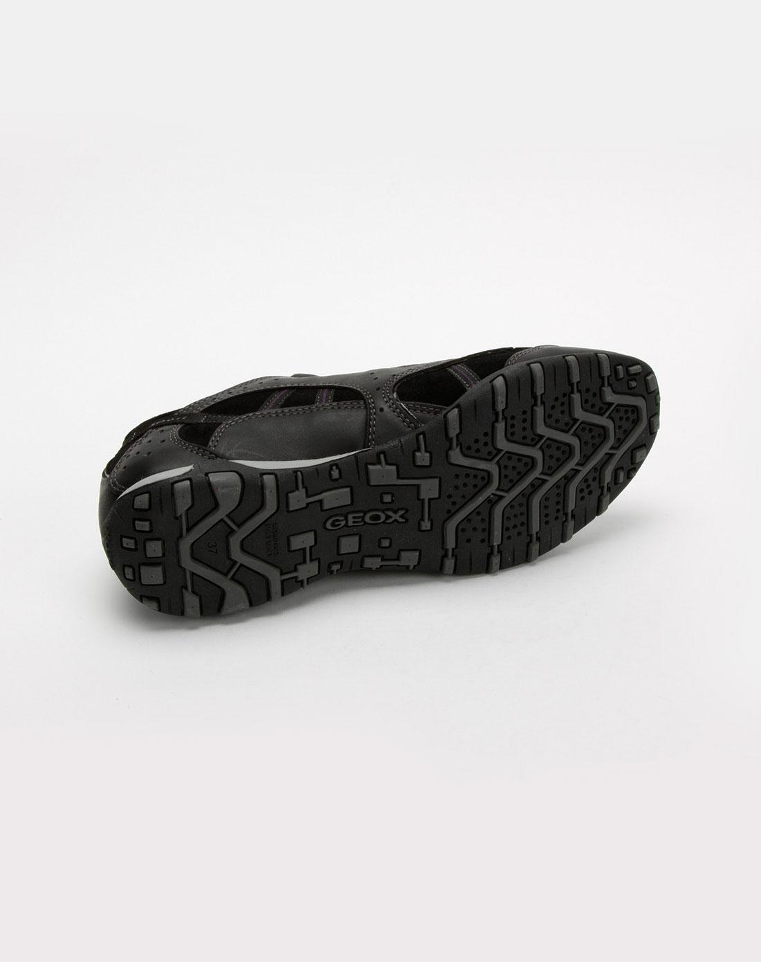 健乐士geox女款黑色牛皮休闲鞋