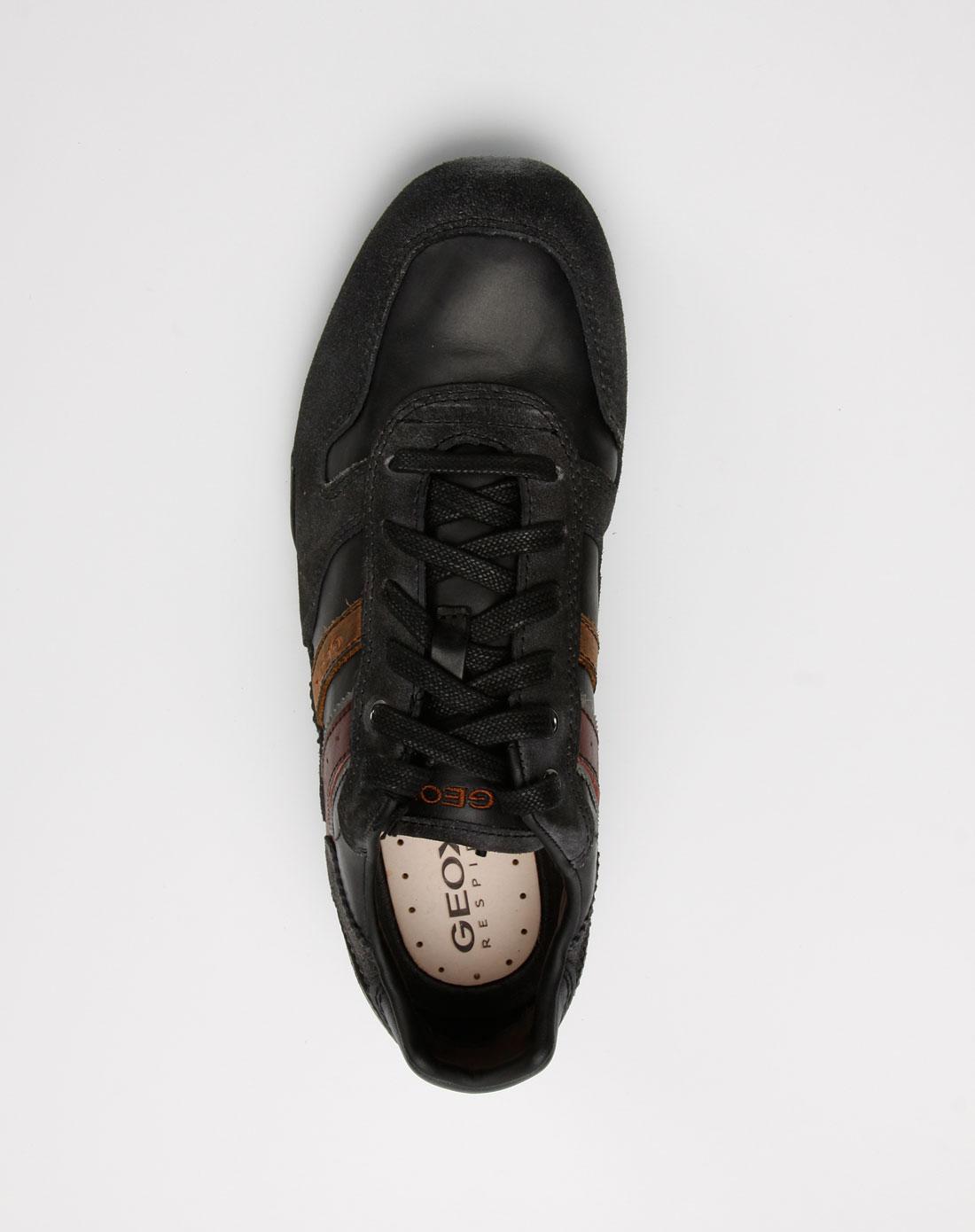 geox男款深灰/黑色牛皮休闲鞋