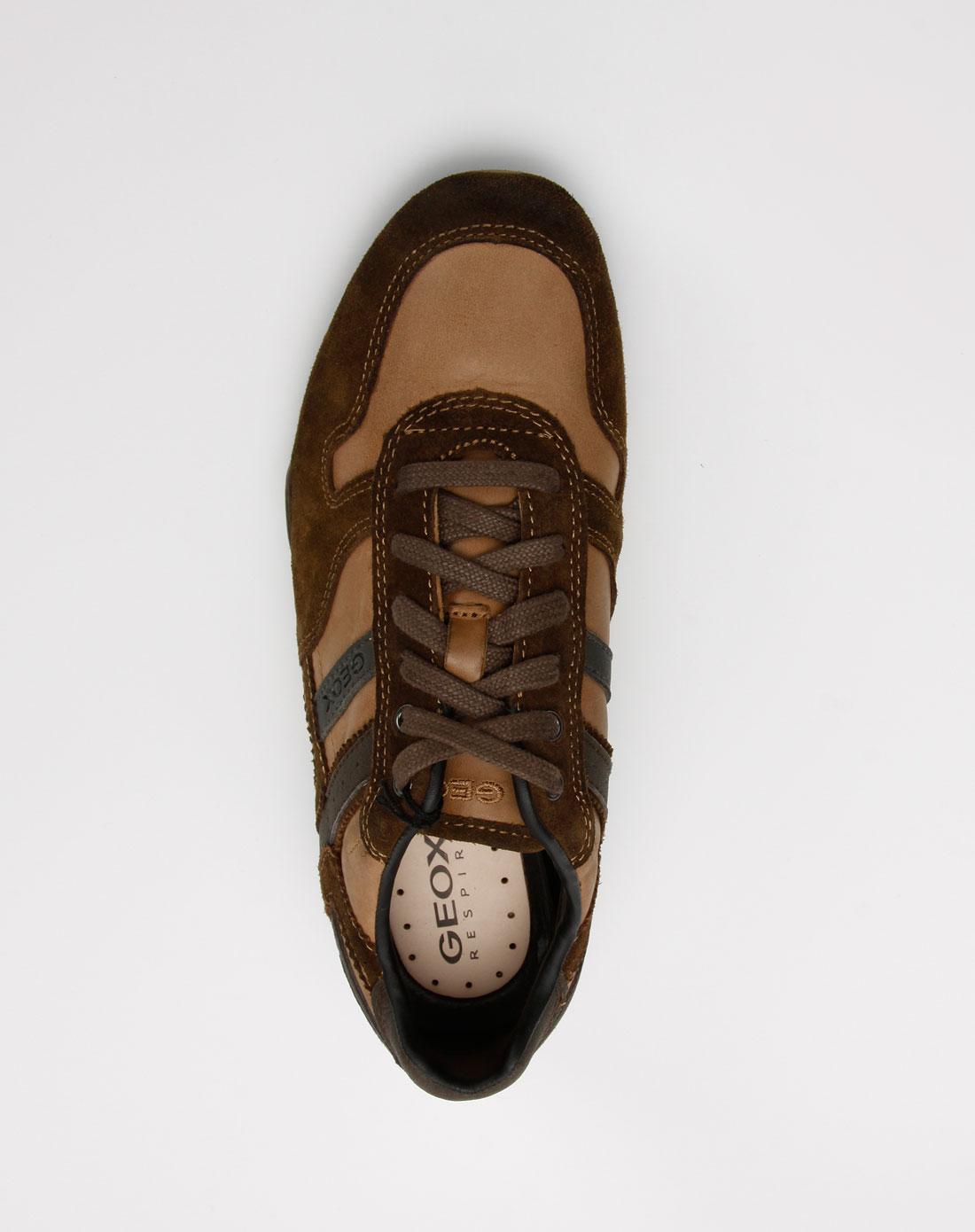 健乐士geox男款深啡/棕色牛皮休闲鞋