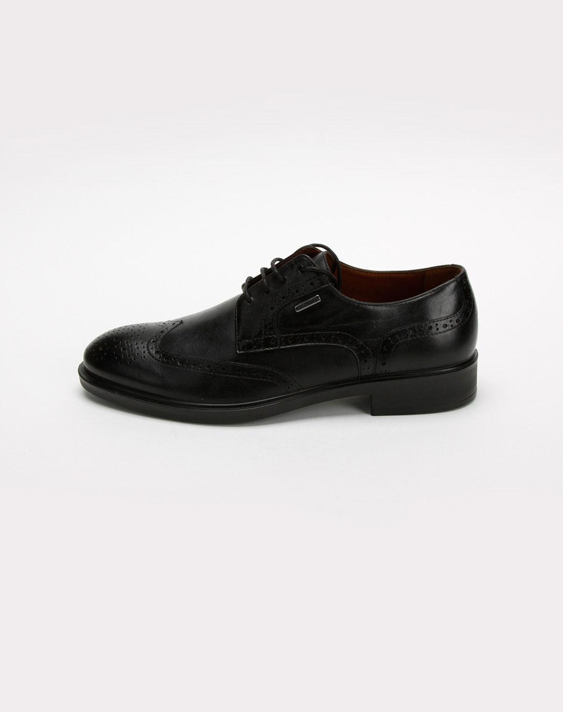 健乐士geox男款黑色牛皮绑带休闲皮鞋