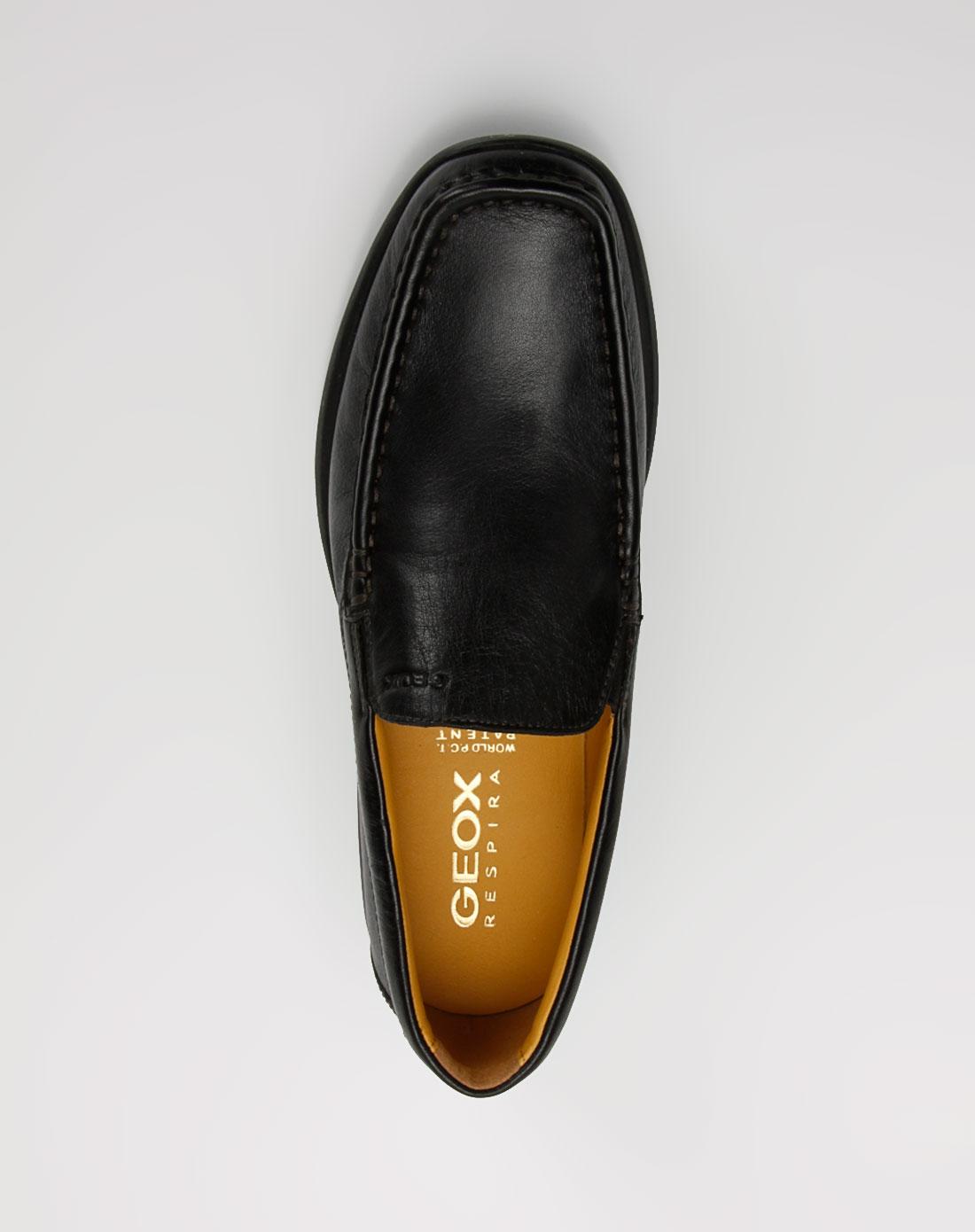 健乐士geox男款黑色打蜡简约牛皮鞋