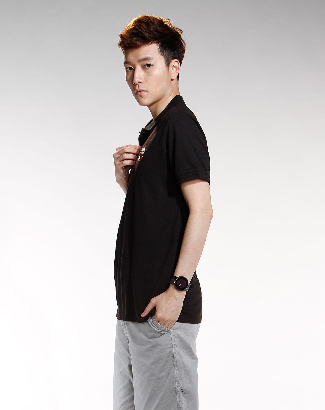 黑色简约短袖polo衫