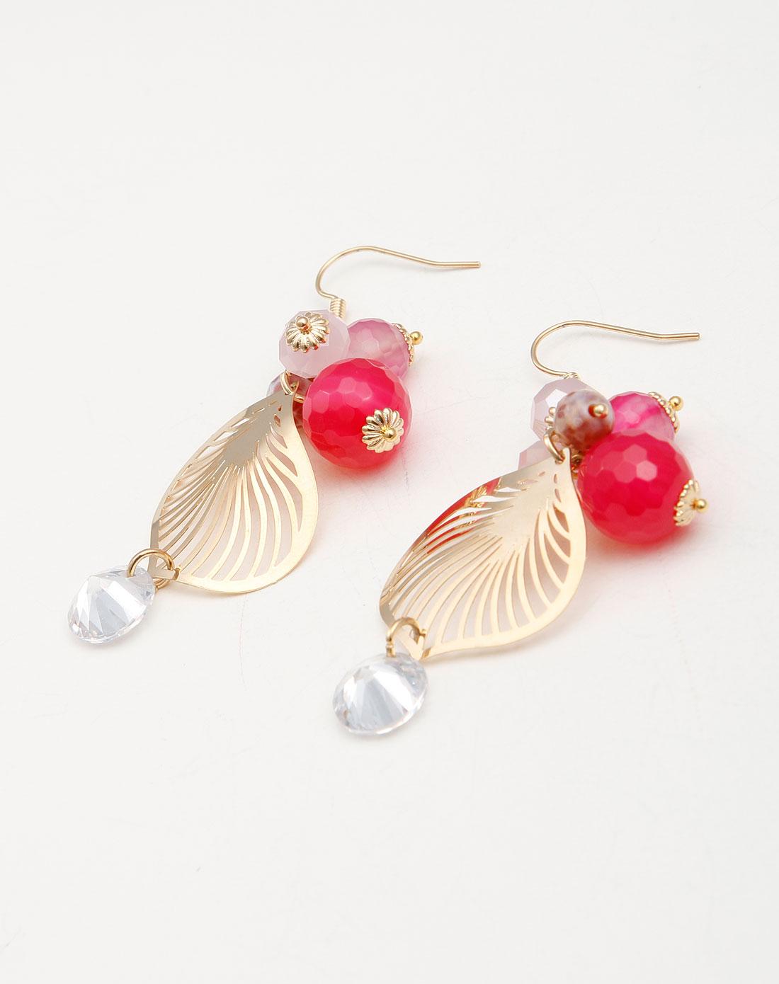 玫红色玫瑰水晶树叶耳环