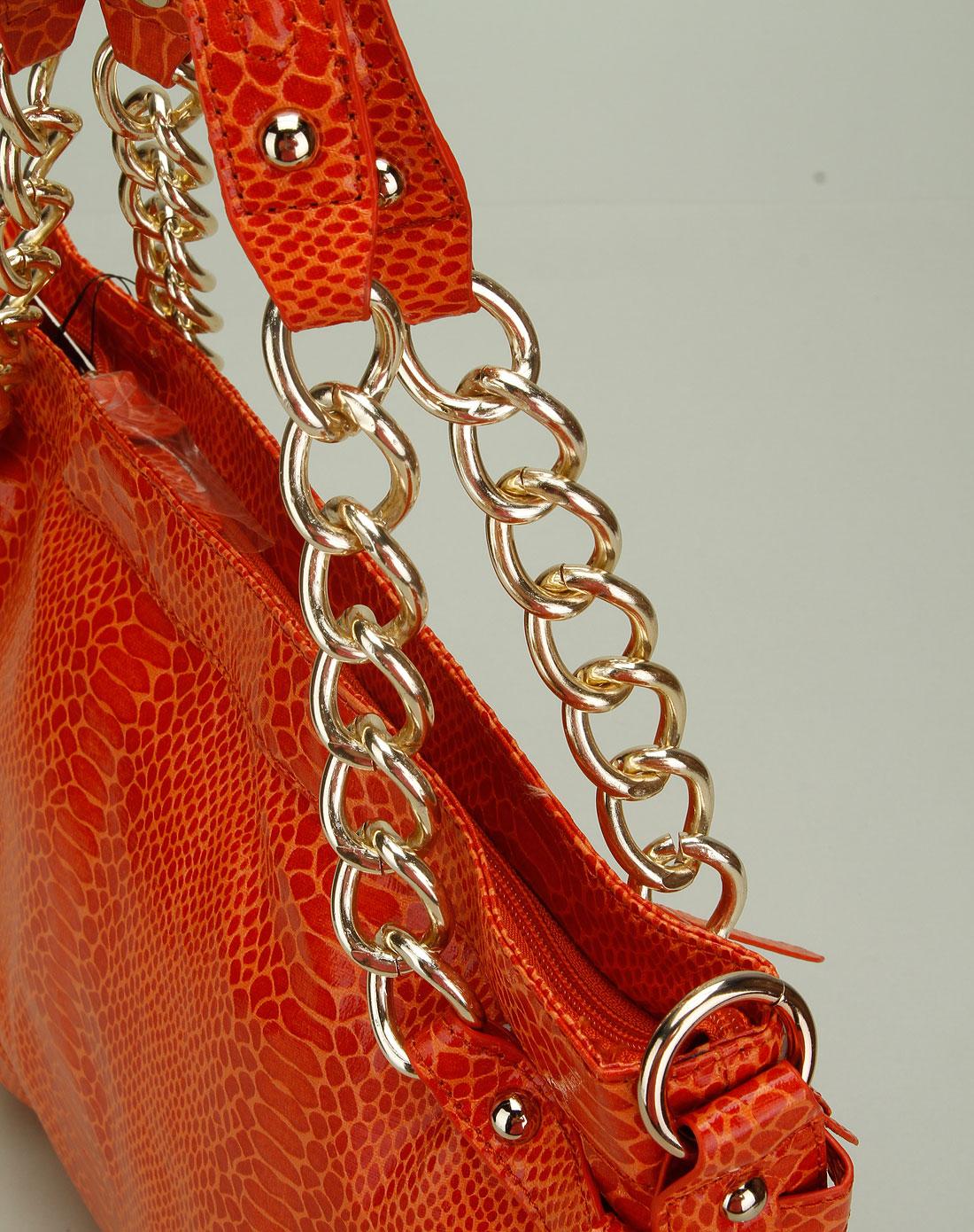 女款橘色花纹时尚两用包