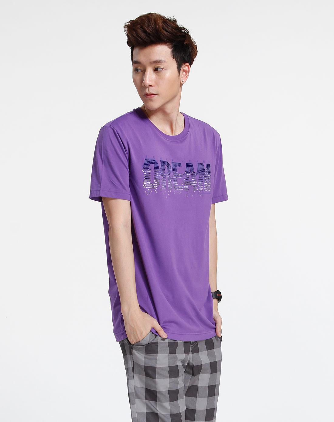 森马 紫色休闲短袖t恤图片