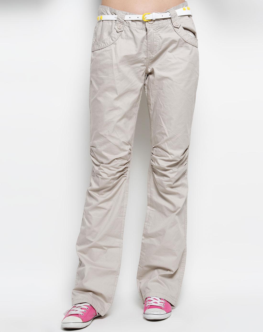 森马-女装浅卡其色休闲长裤