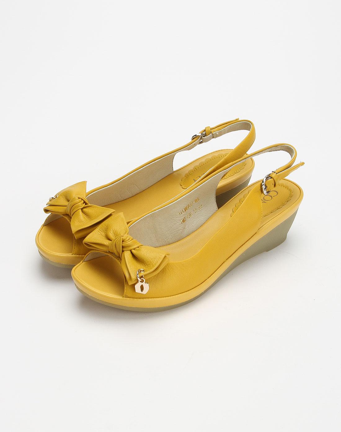 康莉comely黄色时尚简约凉鞋