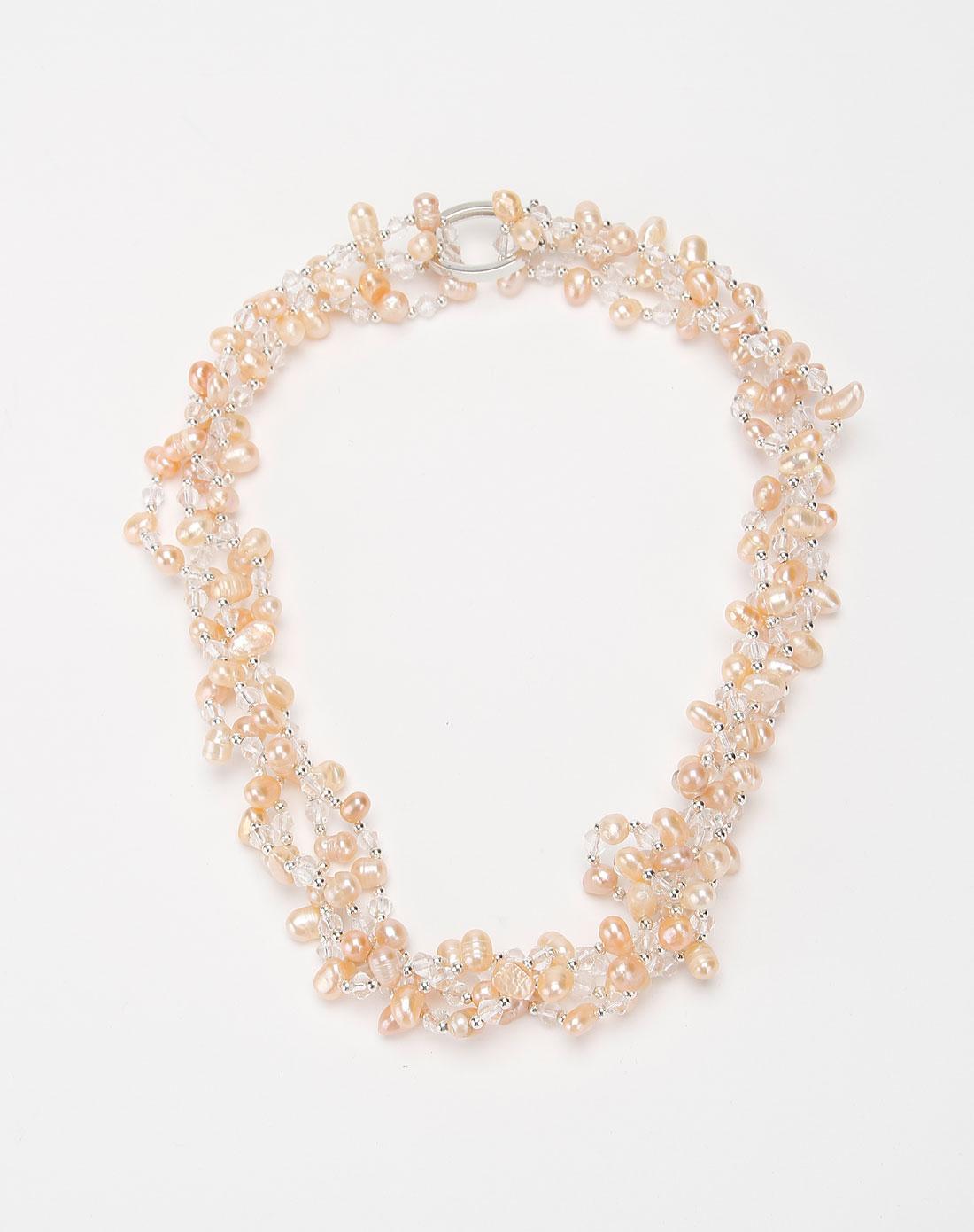 arrio浅粉红色时尚串珠项链
