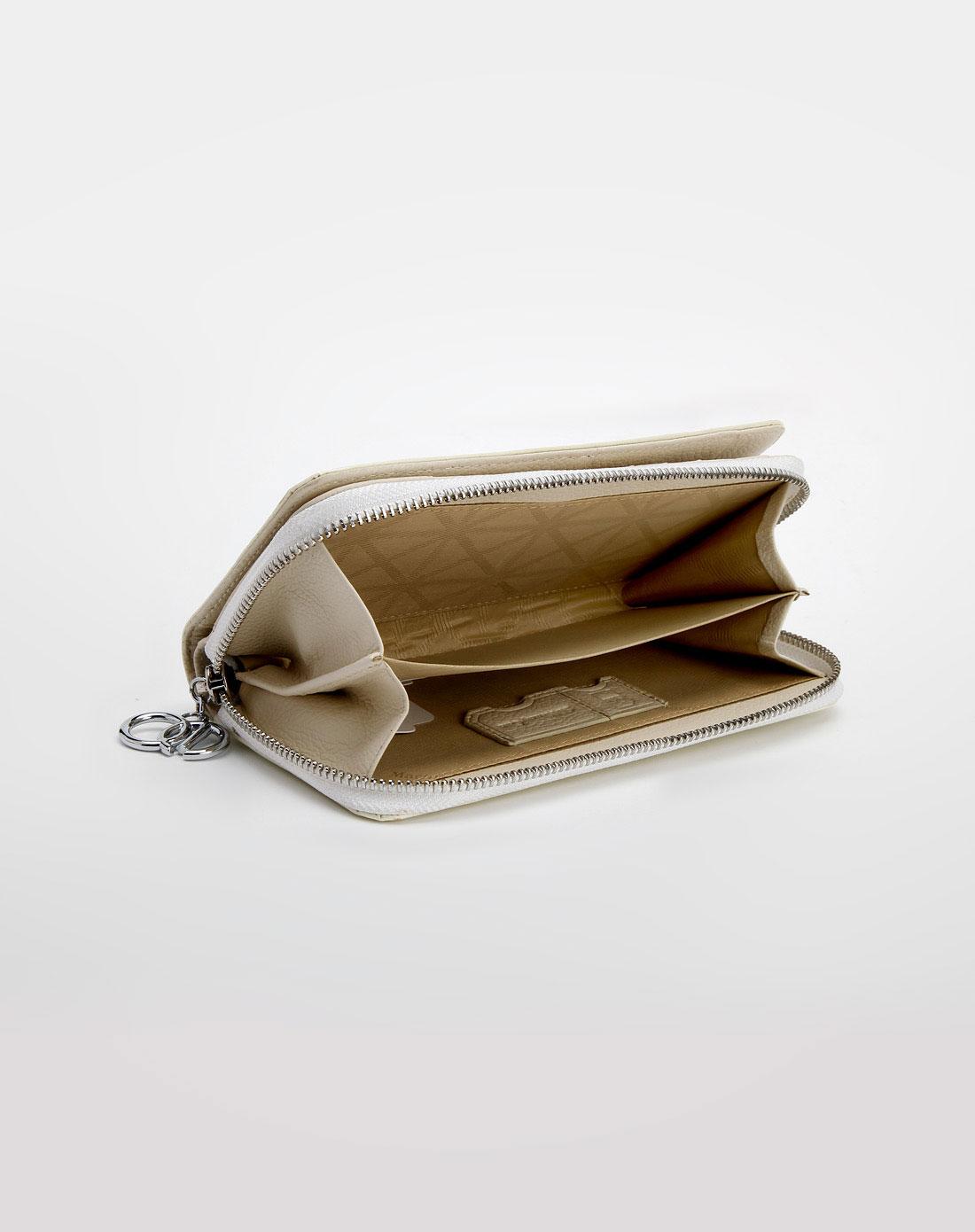 马连奴·奥兰迪-女包米白色拉链钱包