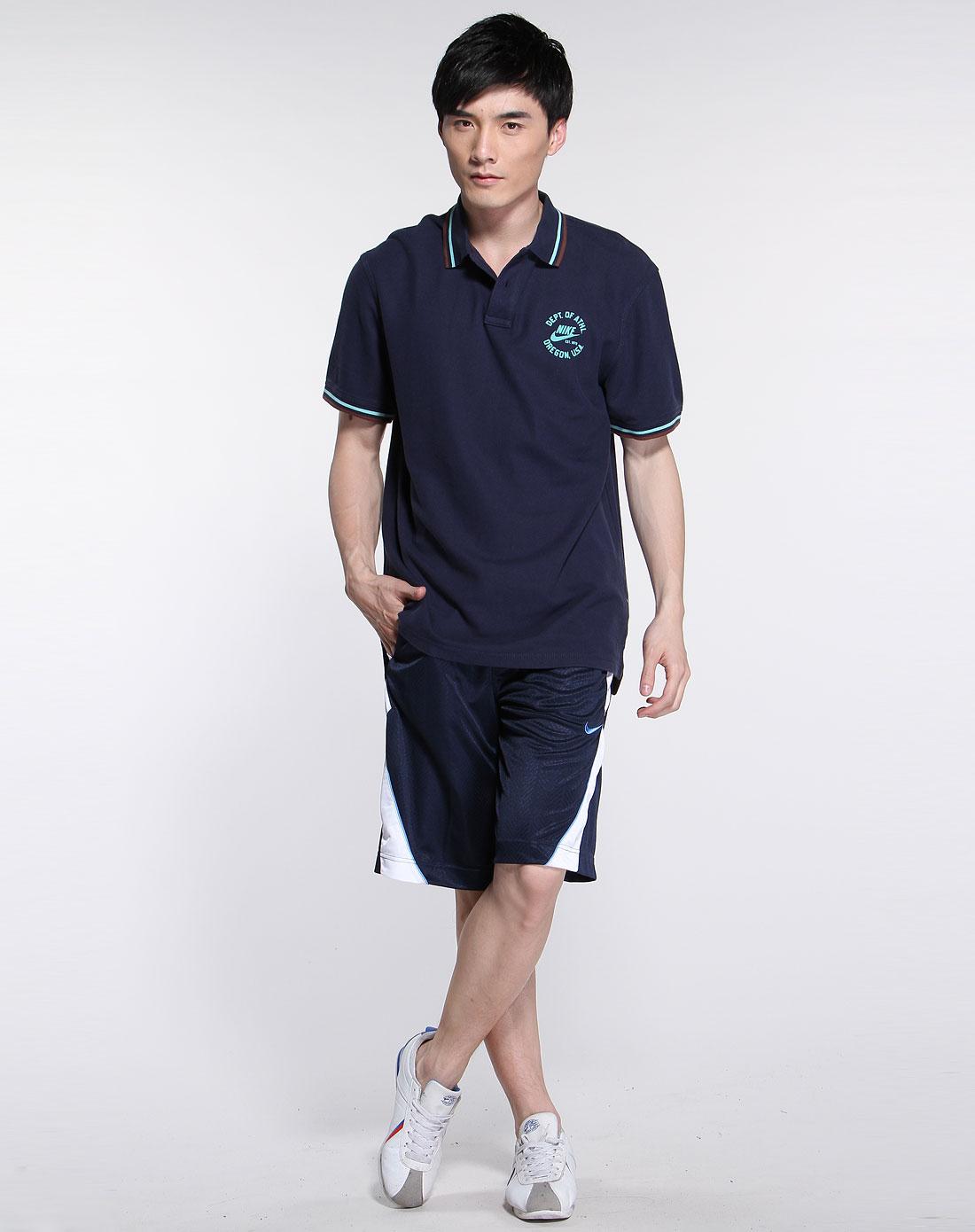 > 深蓝色运动休闲短袖polo衫