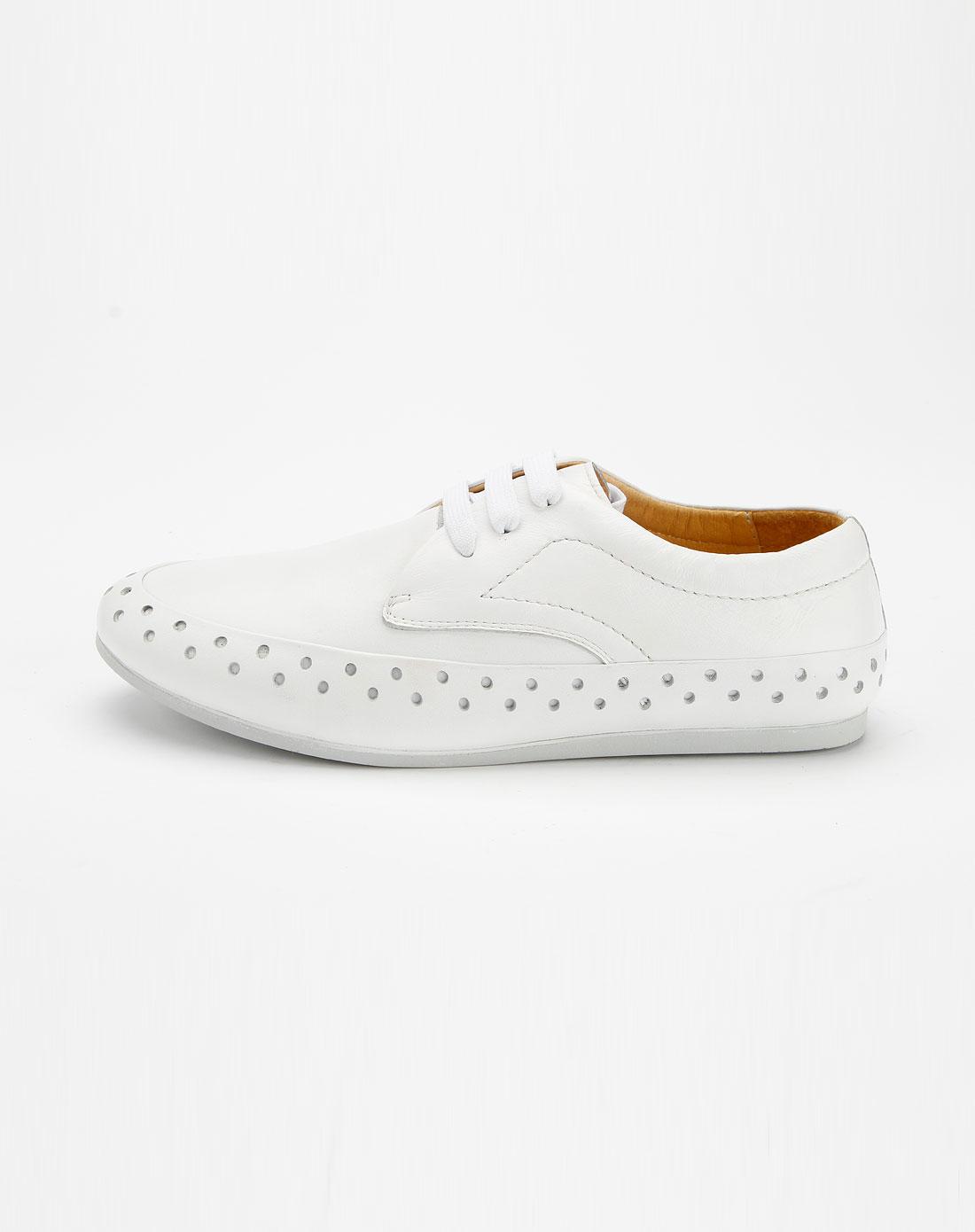 卓凡尼-华伦天奴白色休闲系带皮鞋